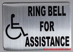 RING BELL FOR ASSISTANCE SIGN (ALUMINUM SIGNS 5X7)