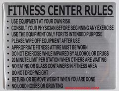FITNESS CENTER RULES SIGN (ALUMINUM SIGNS 8.5X11)