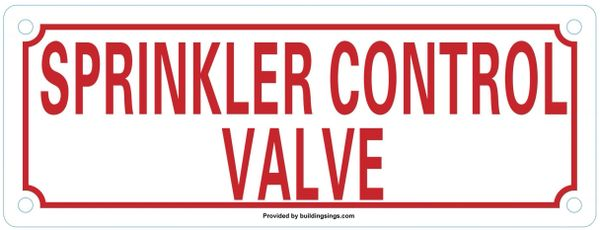 SPRINKLER CONTROL VALVE SIGN (ALUMINUM SIGNS 3X8)