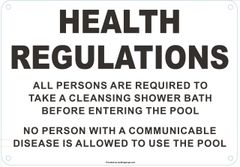 HEALTH REGULATIONS FOR POOLS SIGN (ALUMINUM SIGNS 7 X 10)