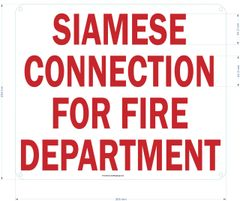 SIAMESE CONNECTION FOR FIRE DEPARTMENT SIGN (ALUMINUM SIGNS 10x12)
