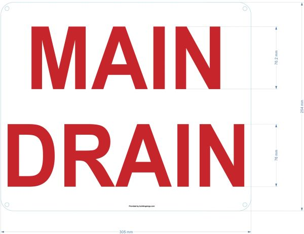 MAIN DRAIN SIGN (ALUMINUM SIGNS 10X12)