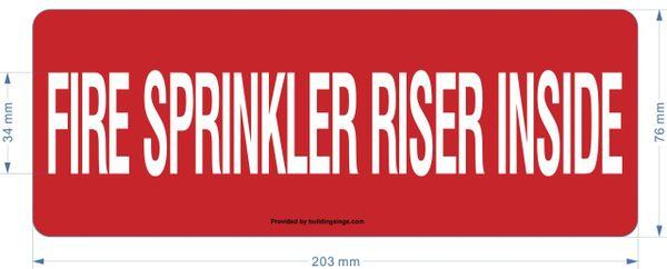 FIRE SPRINKLER RISER INSIDE SIGN (ALUMINUM SIGNS 3X8)
