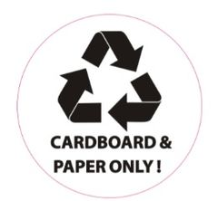 CARDBOARD AND PAPER ONLY SIGN (STICKER, CIRCLE 4X4)