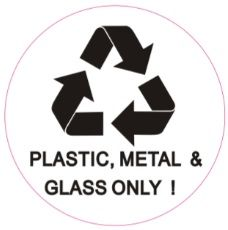 PLASTIC, METAL AND GLASS ONLY SIGN (STICKER, CIRCLE 4X4)