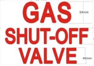 GAS SHUTOFF VALVE SIGN (STICKER 7X10)