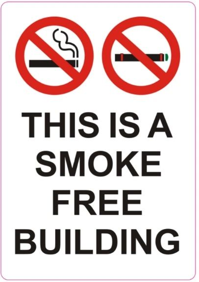 Set of 4 PCS- THIS IS A SMOKE FREE BUILDING SIGN (STICKER 5X3.5)