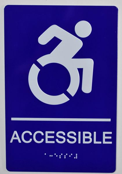 ACCESSIBLE SIGN - BLUE (ALUMINUM SIGNS 9X6)