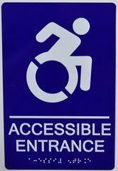Accessible Entrance Sign- BLUE (ALUMINUM SIGNS 9X6)