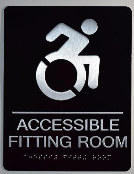 ACCESSIBLE FITTING ROOM Sign - BLACK (ALUMINUM SIGNS 9X6)