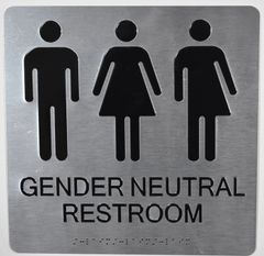 GENDER NEUTRAL UNISEX RESTROOM SIGNS - SILVER (ALUMINUM SIGNS 10X10)