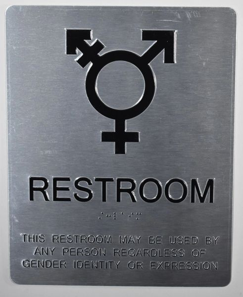 GENDER NEUTRAL UNISEX RESTROOM SIGN - SILVER (ALUMINUM SIGNS 10X8)