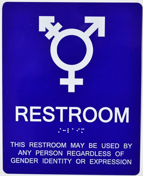 GENDER NEUTRAL UNISEX RESTROOM SIGN - BLUE (ALUMINUM SIGNS 10X8)
