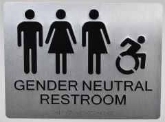 ACCESSIBLE GENDER NEUTRAL RESTROOM SIGN - SILVER (ALUMINUM SIGNS 9X12)