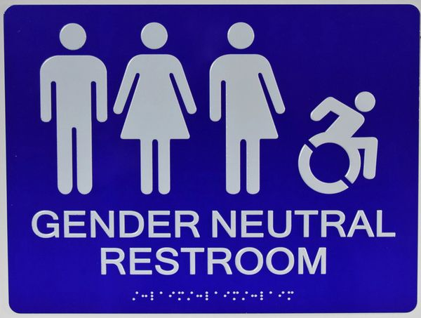 ACCESSIBLE GENDER NEUTRAL RESTROOM SIGN - BLUE (ALUMINUM SIGNS 9X12)