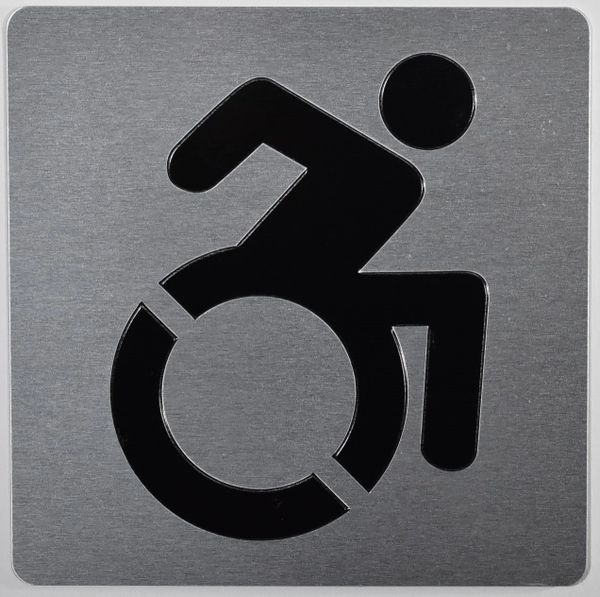 ACCESSIBILITY SYMBOL SIGN - SILVER (ALUMINUM SIGNS 6X6)