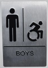 BOYS ACCESSIBLE RESTROOM SIGN- SILVER- BRAILLE (ALUMINUM SIGNS 9X6)
