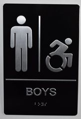 BOYS ACCESSIBLE RESTROOM SIGN- BLACK- BRAILLE (ALUMINUM SIGNS 9X6)