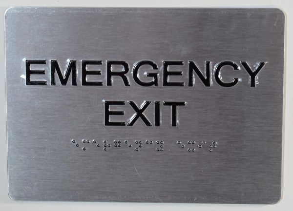 EMERGENCY EXIT SIGN - BRAILLE (ALUMINUM SIGNS 5X7)