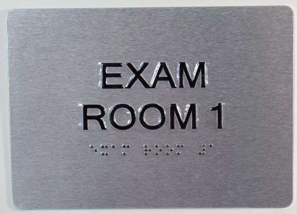 EXAM ROOM 1 SIGN - SILVER- BRAILLE (ALUMINUM SIGNS 5X7)
