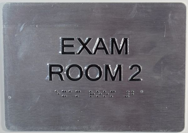 EXAM ROOM 2 SIGN - SILVER- BRAILLE (ALUMINUM SIGNS 5X7)