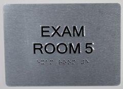EXAM ROOM 5 SIGN - BLACK- BRAILLE (ALUMINUM SIGNS 5X7)