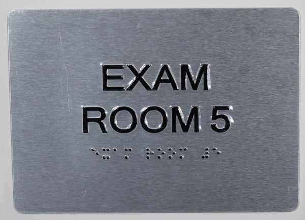 EXAM ROOM 5 SIGN - BLACK- BRAILLE (ALUMINUM SIGNS 5X7)