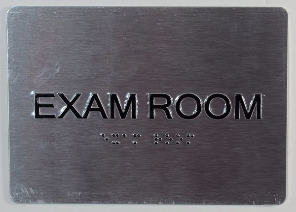 EXAM ROOM SIGN - SILVER- BRAILLE (ALUMINUM SIGNS 5X7)