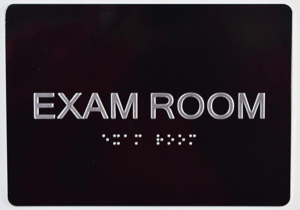 EXAM ROOM SIGN - BLACK- BRAILLE (ALUMINUM SIGNS 5X7)
