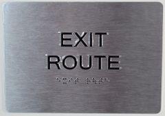 EXIT ROUTE SIGN- BRAILLE (ALUMINUM SIGNS 5X7)