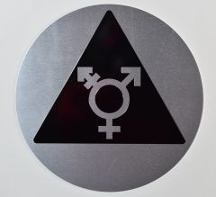 GENDER NEUTRAL UNISEX SYMBOL SIGN - SILVER (ALUMINUM SIGNS 10X8)