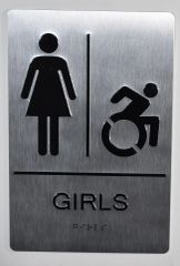 GIRLS ACCESSIBLE RESTROOM SIGN- SILVER- BRAILLE (ALUMINUM SIGNS 9X6)