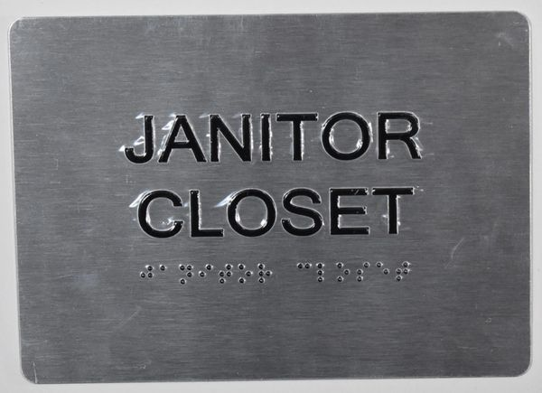 JANITOR CLOSET SIGN - SILVER- BRAILLE (ALUMINUM SIGNS 5X7)