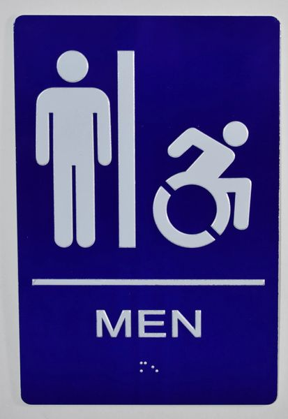 MEN ACCESSIBLE RESTROOM SIGN- BLUE- BRAILLE (ALUMINUM SIGNS 9X6)