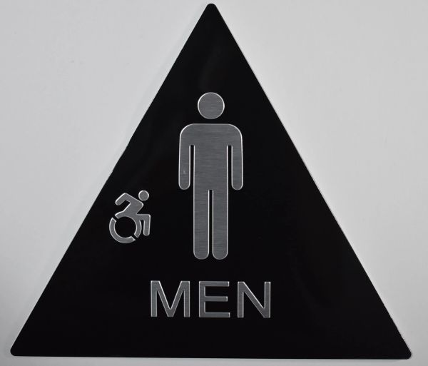 MEN ACCESSIBLE RESTROOM SIGN-BLACK- BRAILLE (ALUMINUM SIGNS 12X12X12, TRIANGLE)