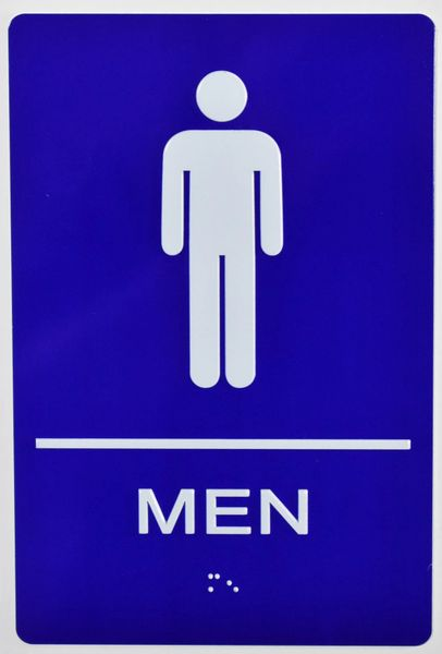 MEN RESTROOM Sign- BRAILLE- BLUE (ALUMINUM SIGNS 9X6)