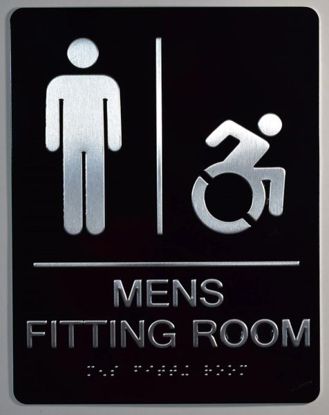 MENS ACCESSIBLE FITTING ROOM SIGN-BLACK- BRAILLE (ALUMINUM SIGNS 9X6)