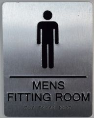MENS FITTING ROOM SIGN-SILVER- BRAILLE (ALUMINUM SIGNS 9X6)