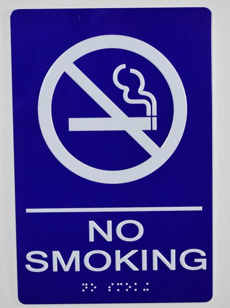 NO SMOKING SIGN- BLUE- BRAILLE (ALUMINUM SIGNS 9X6)