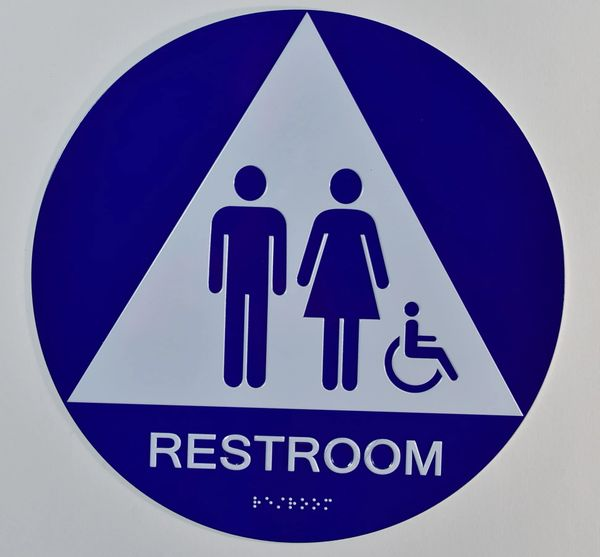 UNISEX ACCESSIBLE RESTROOM SIGN- BLUE- BRAILLE (ALUMINUM SIGNS ,12 INCH DIAMETER, CIRLCE)