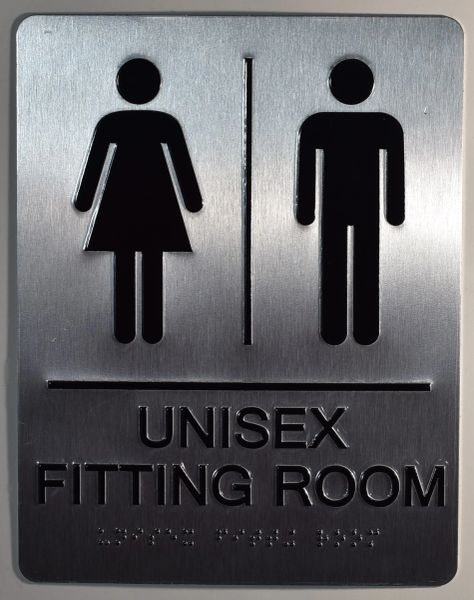 UNISEX FITTING ROOM SIGN-SILVER- BRAILLE (ALUMINUM SIGNS 9X6)
