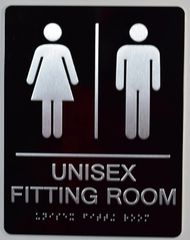 UNISEX FITTING ROOM SIGN-BLACK- BRAILLE (ALUMINUM SIGNS 9X6)