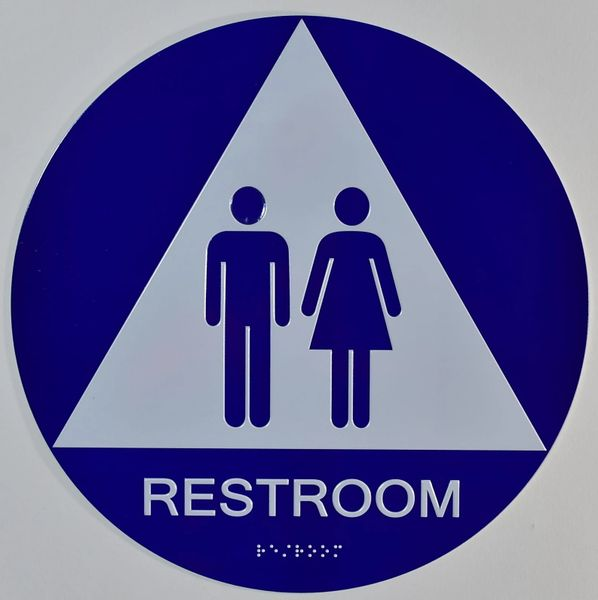 UNISEX RESTROOM SIGN- BLUE- BRAILLE (ALUMINUM SIGNS ,12 INCH DIAMETER, CIRLCE)