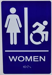 WOMEN ACCESSIBLE RESTROOM Sign - BLUE- BRAILLE (ALUMINUM SIGNS 9X6)