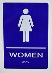WOMEN Restroom Sign- BLUE- BRAILLE (ALUMINUM SIGNS 9X6)