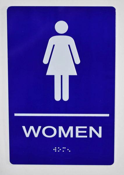 WOMEN Restroom Sign- BLUE- BRAILLE (ALUMINUM SIGNS 9X6)