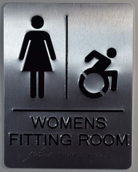 WOMEN ACCESSIBLE RESTROOM Sign - SILVER- BRAILLE (ALUMINUM SIGNS 9X6)