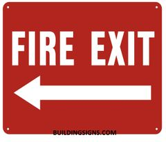 FIRE EXIT LEFT SIGN- REFLECTIVE !!! (ALUMINUM SIGNS 10X12)