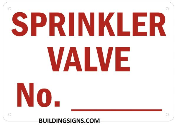 SPRINKLER VALVE NUMBER SIGN - Reflective !!! (ALUMINUM SIGNS 7X10)