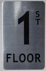 FLOOR NUMBER SIGN - 1ST FLOOR SIGN- BRUSHED ALUMINUM (ALUMINUM SIGNS 8X5)The Mont Argent Line
